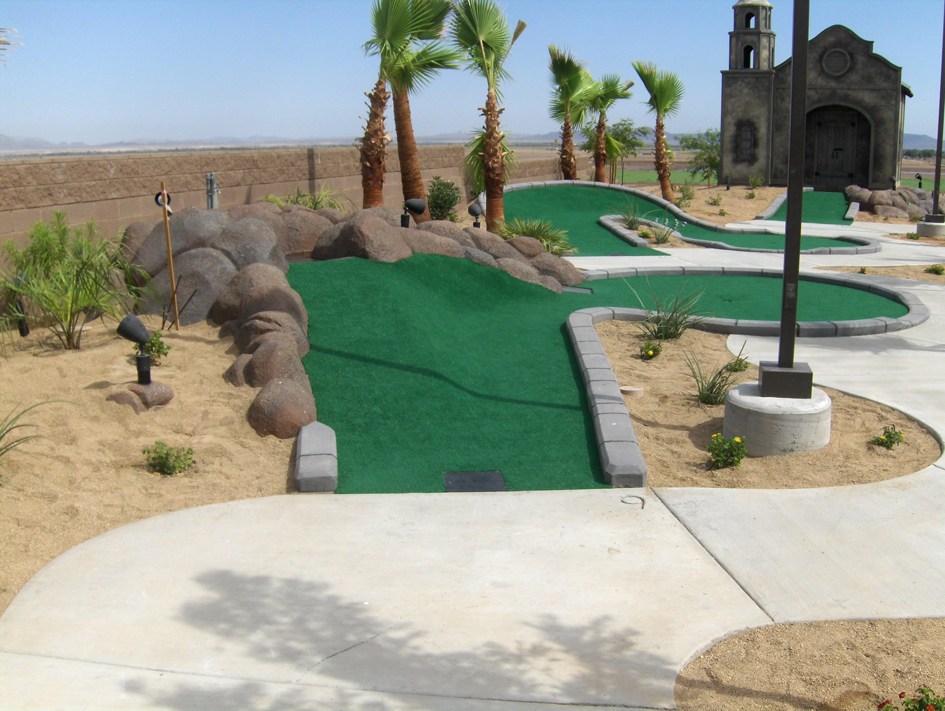 mini golf themed park in desert